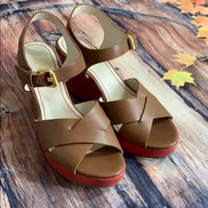 BODEN Tan Coral Criss Cross Sandal Wedges